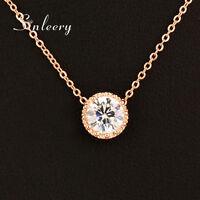 Shinny petit cristal rond pendentif collier femmes bijoux de la Saint-Valentin