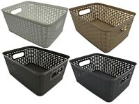 Rattan Storage Boxes Plastic Stackable Boxes With Handles Black Grey White Taupe
