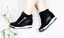 NEW LADIES WOMENS INNER HEEL WEDGE TRAINERS ZIP HIGH TOP ANKLE BOOTS SHOES SIZE