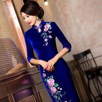 Charming Chinese women's Long dress velvet evening dress Cheongsam Qipao Ladies