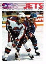 1988 Winnipeg Jets Home vs Quebec Nordiques NHL Hockey Program #119