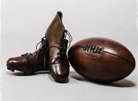 Framed Print - Vintage Leather Rugby Ball & Boots (Picture Poster Sport Art)
