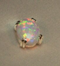 1.15 CT FIERY OVAL WHITE OPAL MENS SILVER TIE TACK PIN LAB GROWN NR