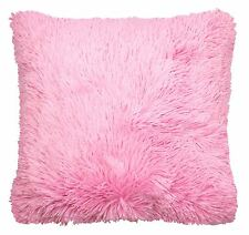 """FILLED SUPERSOFT FAUX FUR BABY CANDY PINK THICK FLUFFY CUSHION COVER 18"""" - 45CM"""