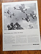 1942 WW II Boeing Ad  Uncle Sam's Chillun Fighting Pilots are Made Not Born