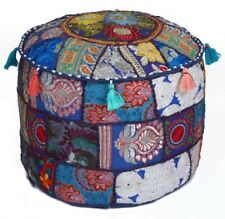 "Blue 17"" Vintage Handmade Round Stool/Ottoman Pouf Cover Seating Throw Decor"