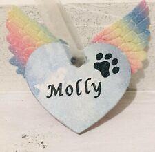 wooden Personalised Heart rainbow bridge Pet Memorial gift/keepsake