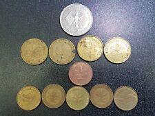LOT OF 11 GERMANY COINS 2 DEUTSCHEMARK 2 5 10 PFENNIG 1950-1983 #GC512C