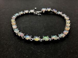 Silver Opal Bead Bracelet Tiny Opal Bracelet Ethiopian Opal Silver Bracelet