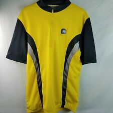 Men's Sugoi Cycling Jersey Black Gold / Yellow Silver XL Half Zip Bicycle