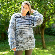 ❤ EXTRAVAGANTZA ❤ GREY mix Hand Knitted Mohair Sweater Soft Crewneck Pullover