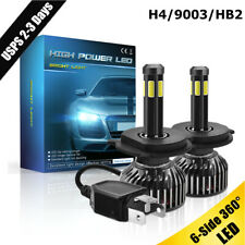 6-side H4 9003 HB2 LED Hi/Low Headlight Conversion Kit 200W 30000LM Bulbs 6000K