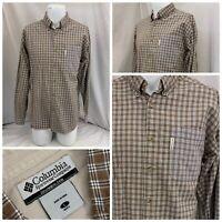 Columbia Shirt L Brown Button-up 100% Cotton Long Sleeve Plaid Mint Flipz B166