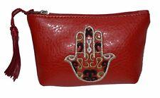 Moroccan Faux Leather Handbag Pouch Purse Women Hamsa  Make Up Bag Wallet Red