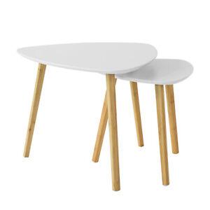 SoBuy Nesting Tables Set of 2 White Coffee Tables FBT74-W