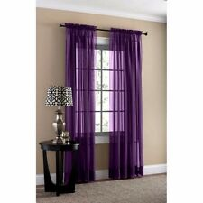 "4-Piece Purple Sheer Voile Window Curtain Panels 55""W X 84""L Each Panel"