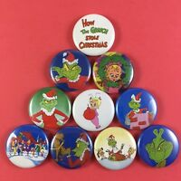 "How the Grinch Stole Christmas 1"" Button Pin Lot Dr Seuss"