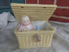 Rare Antique Victorian French Bisque Piano Baby Doll Figurine Swinger In Basket