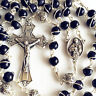 Bali 925 Sterling Silver Bead bule JADE Catholic gift Rosary Necklace Crucifix
