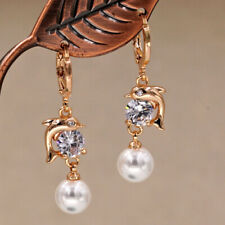 18K Gold Filled - 1.4'' Dolphin Fish Pearl Gemstone Topaz Party Lady Earrings DS