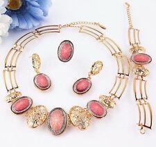 Moda Rosa Oro Placcato Gioielli Collana Orecchini Bracciale Anello Set