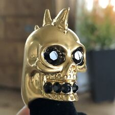 ALEXANDER MCQUEEN Gold Spike Mohawk Punk Skull Black Swarovski Statement RING
