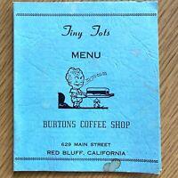 1930s BURTONS COFFEE SHOP vintage children's menu RED BLUFF, CALIFORNIA, Ray Hix