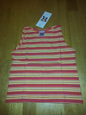 GIRLS LOVELY STRIPED COTTON HOLIDAY VEST TOP 3-4 YEARS BNWT YELLOW ORANGE PINK