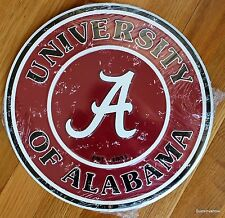 "Alabama University Crimson Tide Licensed College Metal Round Sign 12"" Dorm Decor"