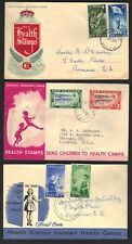 NEW ZEALAND 1948-50's THREE HEALTH STAMPS ON OFFICIAL COVERS WITH CACHETS