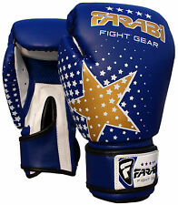 Kids Boxing gloves, MMA, Muay thai junior punch bag mitts Blue 6Oz by Farabi