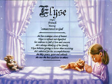 """""""Praying Girl 1"""" Name Meaning Prints Personalized (Religious, Child)"""