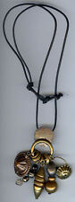 MARJORIE BAER VINTAGE COPPER & BRASS DANGLE AMULETS NECKLACE