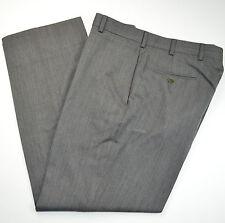 BROOKS BROTHERS Madison 100% Wool Flat Front Twill Gray Dress Pants Sz 34 x 29