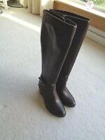 M&S Insolia Brown Soft Leather Knee High Zipped Tall Winter Riding Boots UK 3
