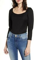 NEW One Clothing Black Crop Smock Top Puff Shoulder Sleeve Goth Peasant Blouse S