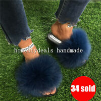 Deep Blue - Real Fox Fur Slides Slipper Sandals Flat Shoes Sliders