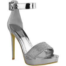 Womens Ladies Stilettos High Heels Strappy Platforms Sandals Diamante Shoes Size