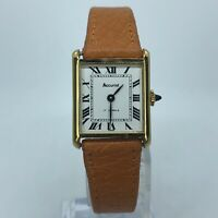ACCURIST VINTAGE WIND UP WOMENS WATCH GOLD TONE 17 JEWELS BROWN LEATHER 22mm
