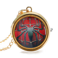 Luxury Gold Necklace Chain Boys Mens Gift Fashion Cool Spider-Man Pocket Watch