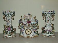 Antique 19th C. German Porcelain Ceramic 3 Piece Mantel Shelf Clock Vase Urn Set