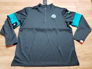 Nike Therma NFL On Field Dri Fit Miami Dolphins Zip Pullover AO3457-060 Men's XL
