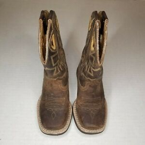 Ariat Boys' Charger Distressed Cowboy Boot - Square Toe Brown Size 8.5