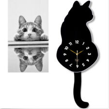 Creative 3D Cute Cat Wall Clock Wag Tail Silence Home Decoration Kids Xmas Gift