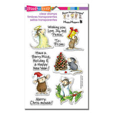 HOUSE MOUSE RUBBER STAMPS CLEAR MERRY MICE NEW clear STAMP SET