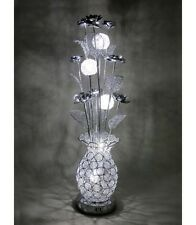 Carmen Silver Wire Metal Short Table Desk LED Lamp Light Floral Flower Modern