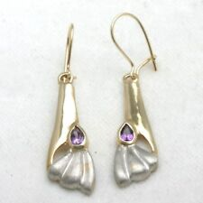 New 14k purple Amethyst dangle earrings deco style yellow white gold two tone