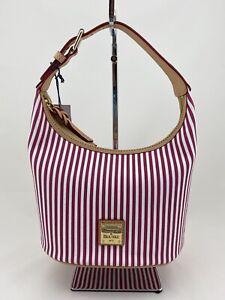 Dooney & Bourke Striped Bucket Bag Fuchsia White $188 NWT