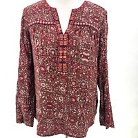 One September Anthropologie Red Embroidered Boho Tunic Top Small