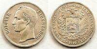 Venezuela-5 Bolivares  1919. Plata 24,9 g. Muy bonita